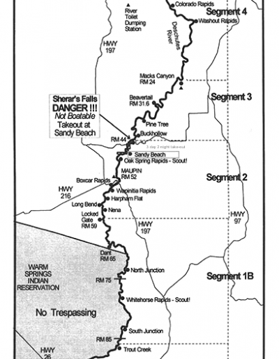 Lower Deschutes River Boating Map